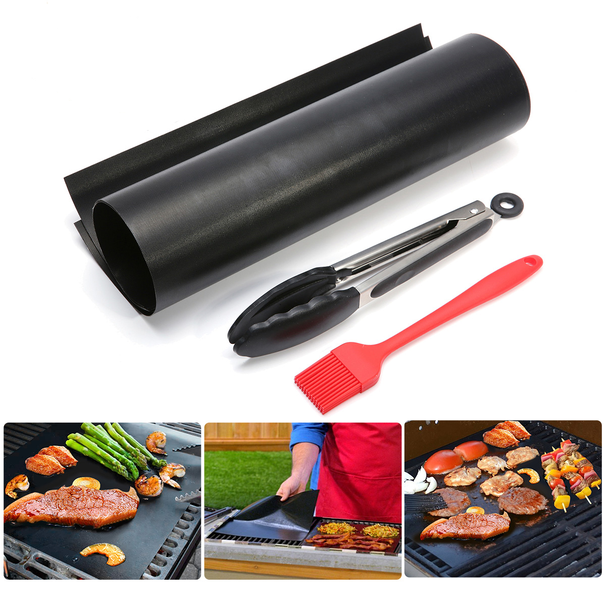 IPRee 5 Non-stick Barbecue Cooking Grill Mat BBQ Clip S