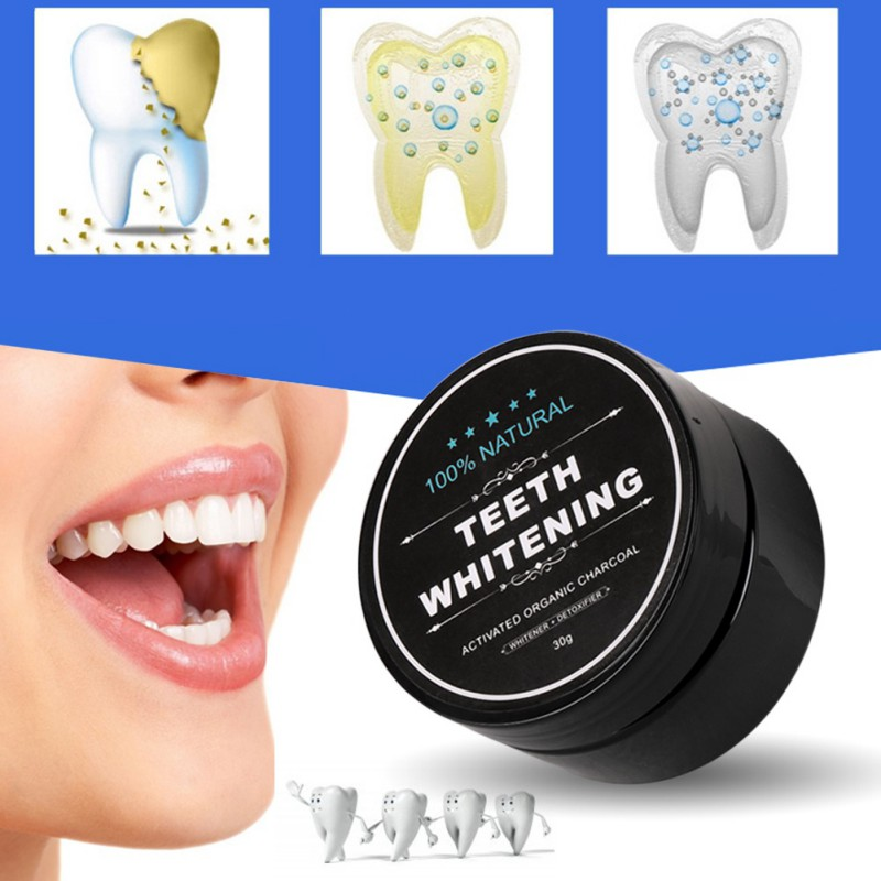 30g Natural Activated Bamboo Charcoal Teeth Whitening Powder Smoke Coffee Tooth Stain Cleaning