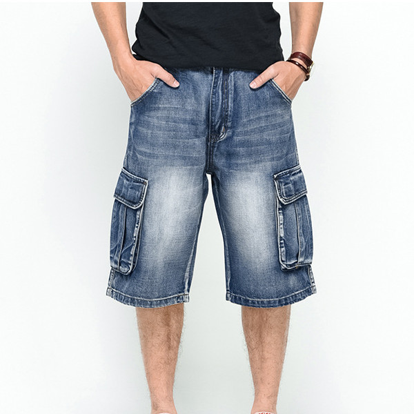Summer Mens Big Pockets Jeans Loose Street Skateboard Denims Shorts