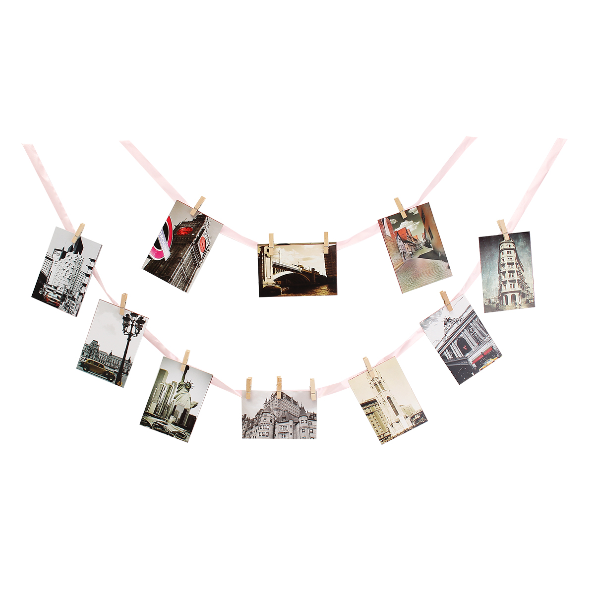 DIY 13Pcs Wood Photo Hanging Clip Banner Baby Photo Shower Photo Frame With Rope