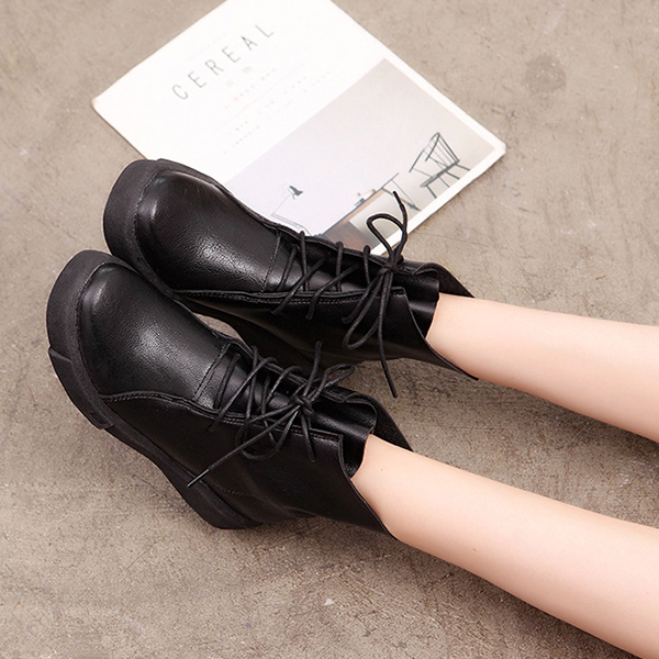 Lace Up Round Toe Fashion Leather Comfy Ankle Boots For Women