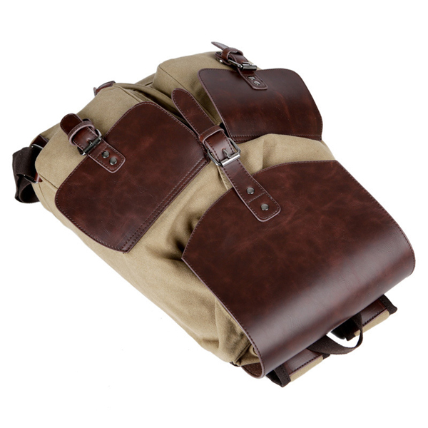 Vintage Canvas Travel Backpack Big Capacity Wear-Resisting PU Leather Bag For Men