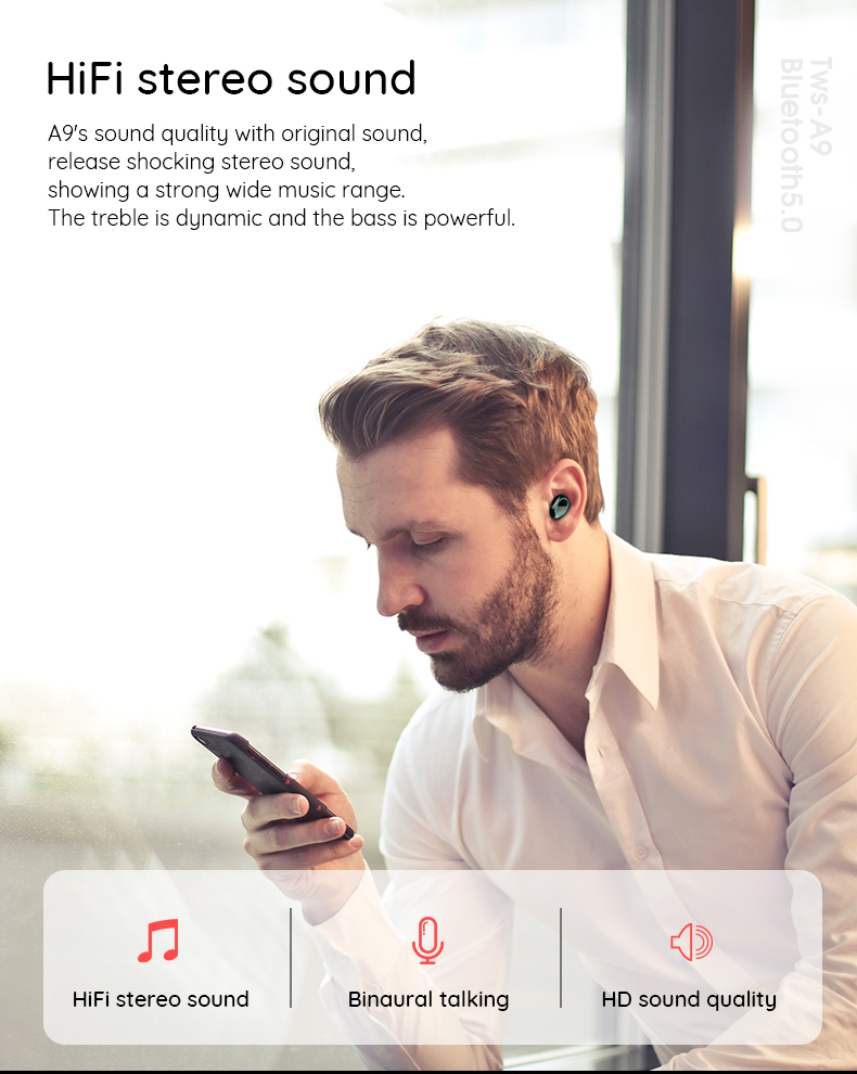 LEORY A9 TWS bluetooth 5.0 In-ear Earphone Touch Control HiFi IPX7 Waterproof Metal Earbuds With Mic