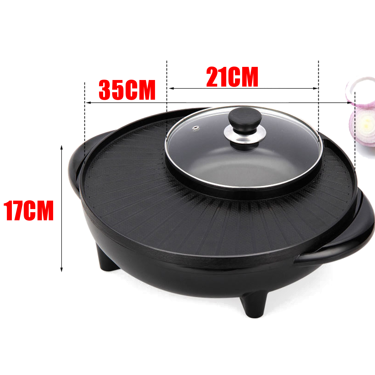 220V 2 in 1 Electric BBQ Grill Teppanyaki Steamboat Pan Hot Pot Kitchen Party Supplies