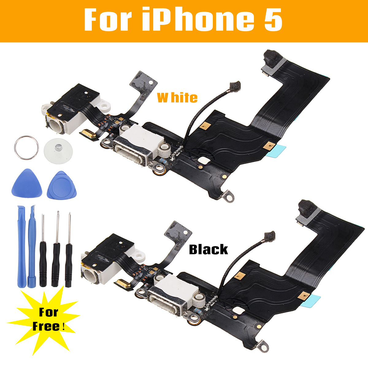Charging Port Dock Connector Flex Cable Replacement + Repair Tools for iPhone 5