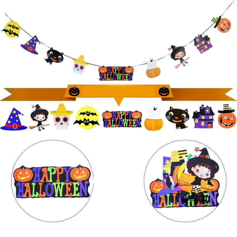 Halloween Hanging Paper Ghost Pumpkin Funny Door Hanger Foldable Fun Halloween Party Supplies