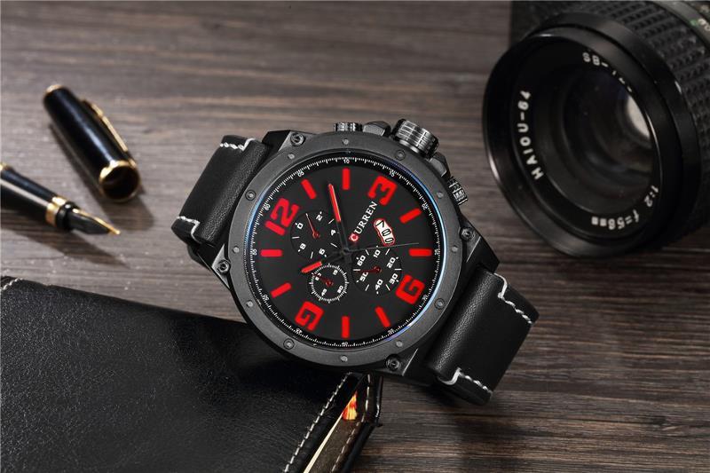 CURREN 8230 Fashion Large Number Display Men Quartz Watch Leather Strap Sport Watch