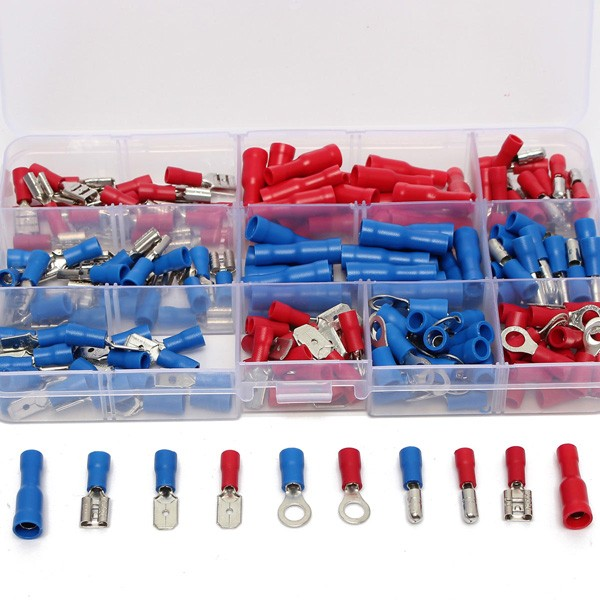 Soloop 200Pcs Assorted Insulated Electrical Wire Terminals Crimp Connector Spade Set
