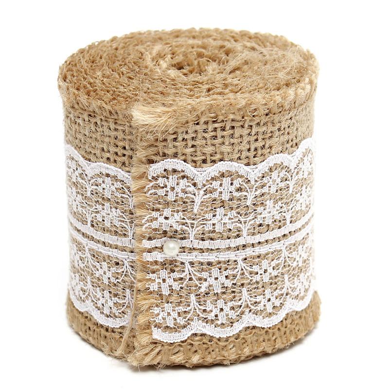 2M Jute Hessian Burlap Natural Craft Floristry Ribbon Rustic Wedding Party Decoration