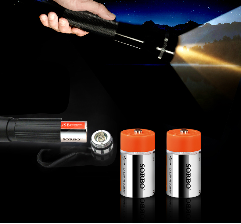 2Pcs SORBO 1.5V 4500mAh USB Rechargeable Quick Charging Type D Lipo Battery