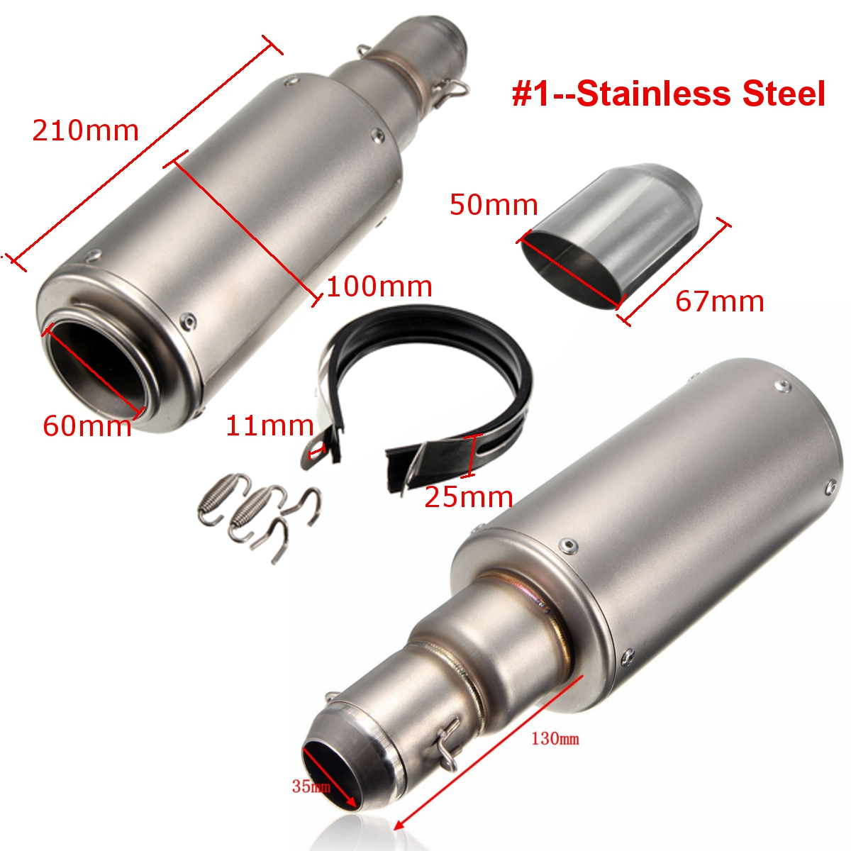 38-51mm Motorcycle Stainless/Carbon Fiber Exhaust Muffler Scooter Dirt Bike