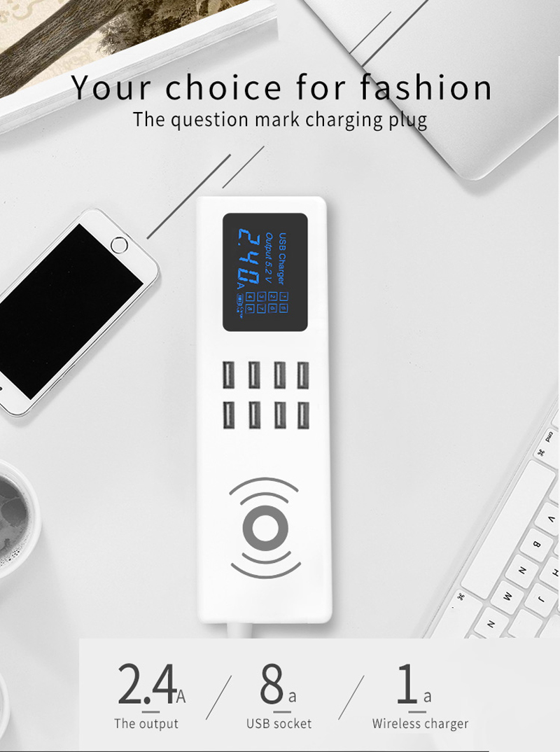 Bakeey 8A LED Digital Current Voltage Display 8 USB Wireless Charger Socket EU Plug For Phone Tablet