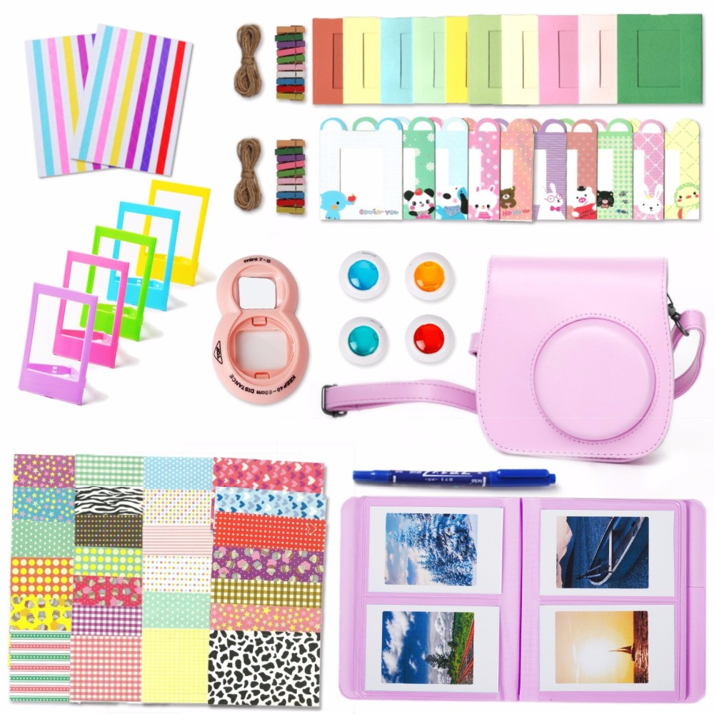 Fujifilm Instax Mini 8 Camera Case Bag Selfie Lens Colored Filter Album Wall Hang Frames Accessories