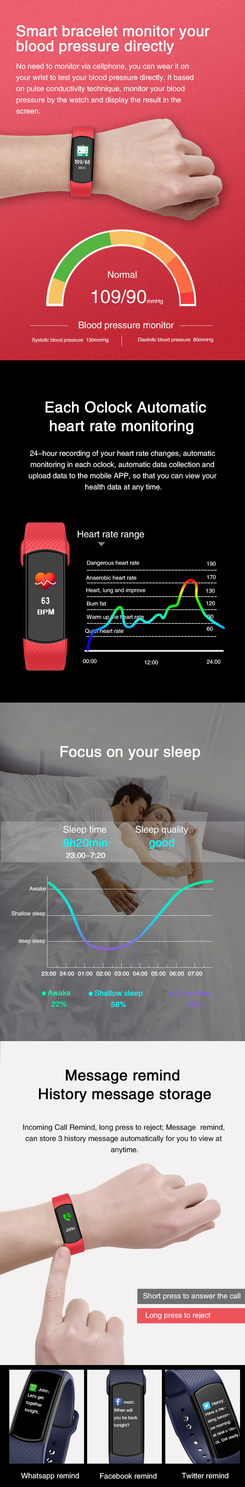 Bakeey B60 HD Color Display Heart Rate Blood Pressure Monitor Smart Watch Long Standby Wristband