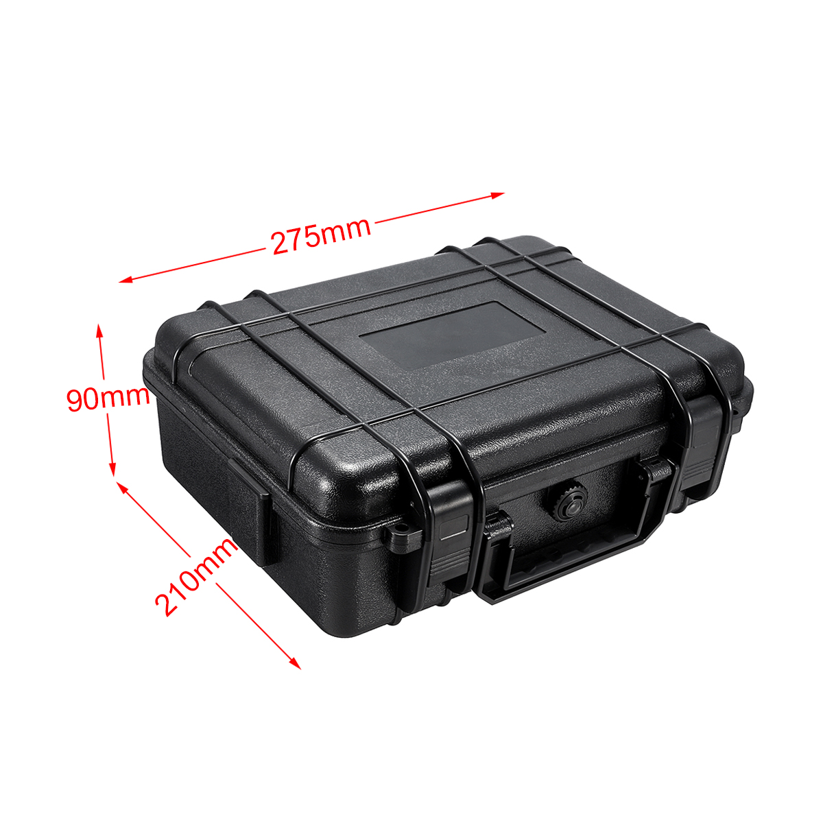 275x210x90mm Waterproof Hard Carry Camera Lens Photography Tool Case Bag Storage Box with Sponge