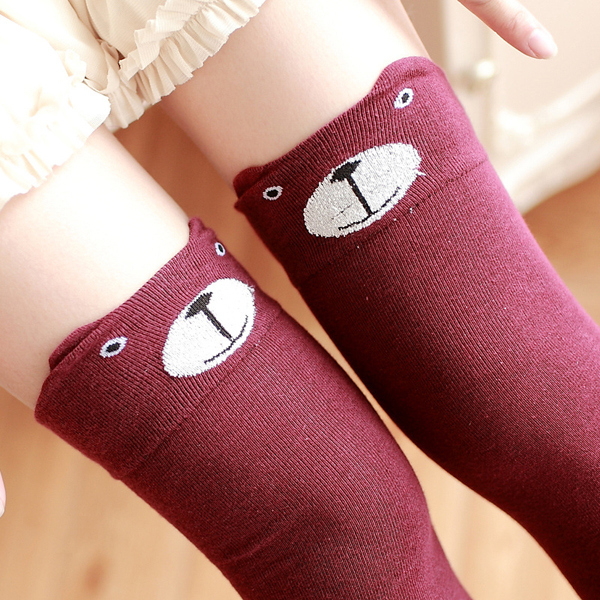 Women Girls Cartoon Animal Cotton Stocking Kawaii Cat Bear Over Kneed High Tight Socks