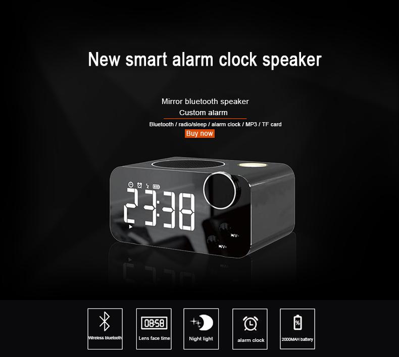Musky DY39 Smart Mirror LED Display Alarm Clock Wireless bluetooth Speaker Night Light with FM Radio Function