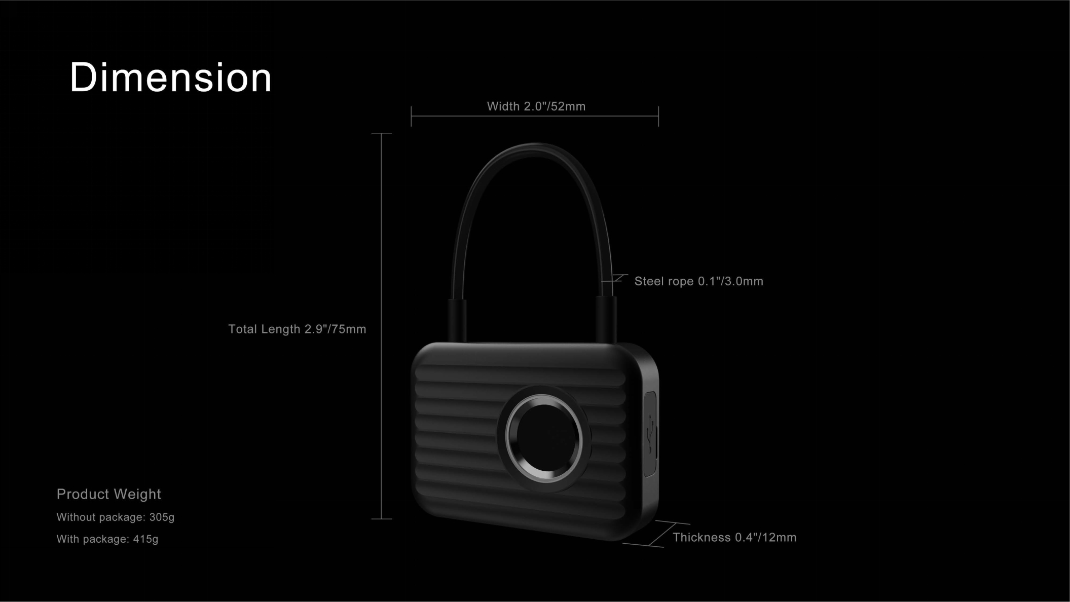 KCASA Smart M1 Fingerprint Padlock LED Display USB Charging Fingerprint Lock Electronic Door Lock Luggage Lock Bag Lock