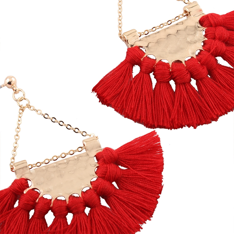 Bohemia Alloy Sector Tassel Earrings
