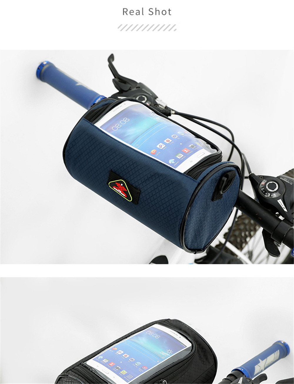 Motorcycle Bicycle Waterproof Touchscreen Front Phone Bag Luggage Tube Panniers