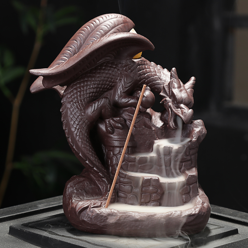 Auspicious Dragon Purple Sand Smoke Backflow Incense Burner Creative Aromatherapy Censer Decorations
