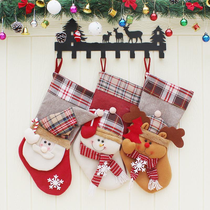 Christmas Candy Bag Stocking Santa Claus Sock Gift Bag Bauble Christmas Tree Ornaments Decoration