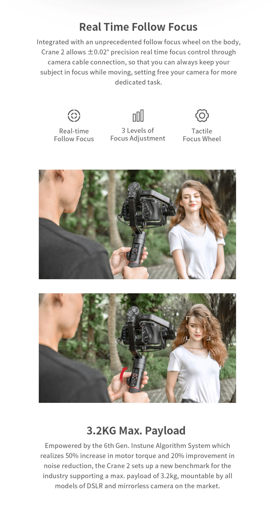 Zhiyun Crane 2 3Axis Handheld Stabilizer Photography Support Gimbal for DSLR Camera