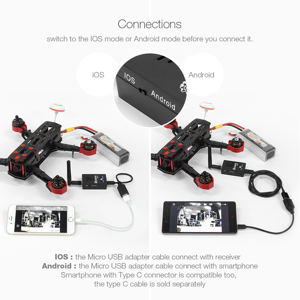 Eachine VTX03+R051 5.8G 72CH 0/25mW/50mw/200mW Switched FPV VTX RX Combo For Android IOS Smartphone