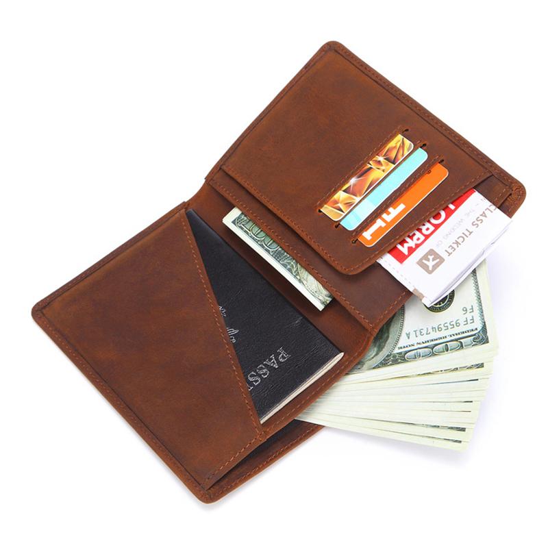 Vintage Genuine Leather Minimalist Passport Holder Wallet