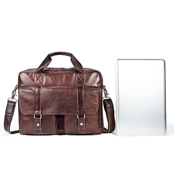 Men Leather Briefcase Casual Business Shoulder Bag