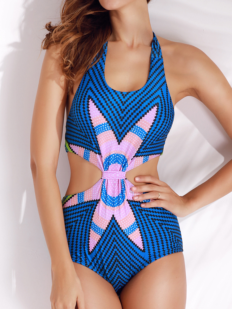 Print Wireless Monokini Backless High Cut Swimsuit