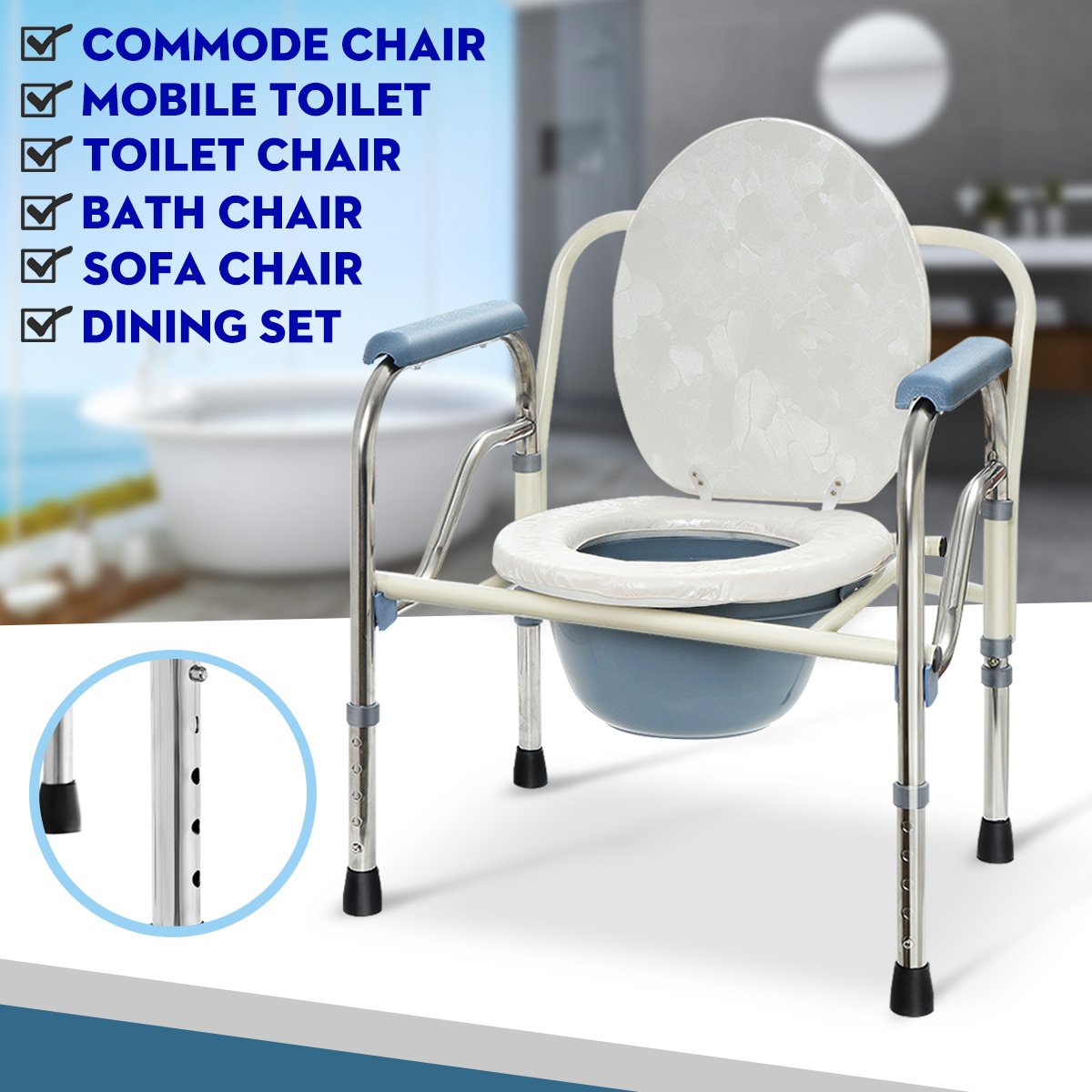 Foldable Commode Toilet Safety Chair