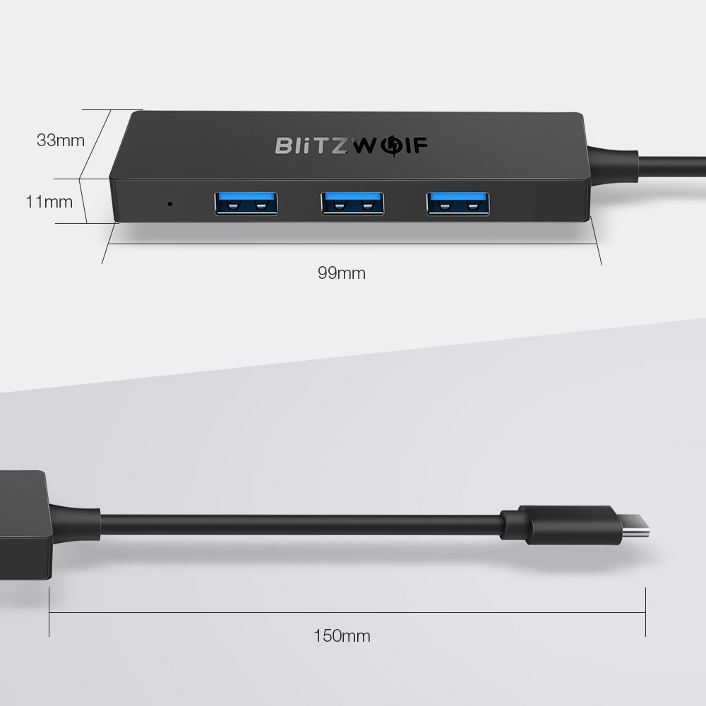 BlitzWolf® BW-TH3 4 in 1 Type-C to 4-Port USB3.0 Data Hub with OTG Function