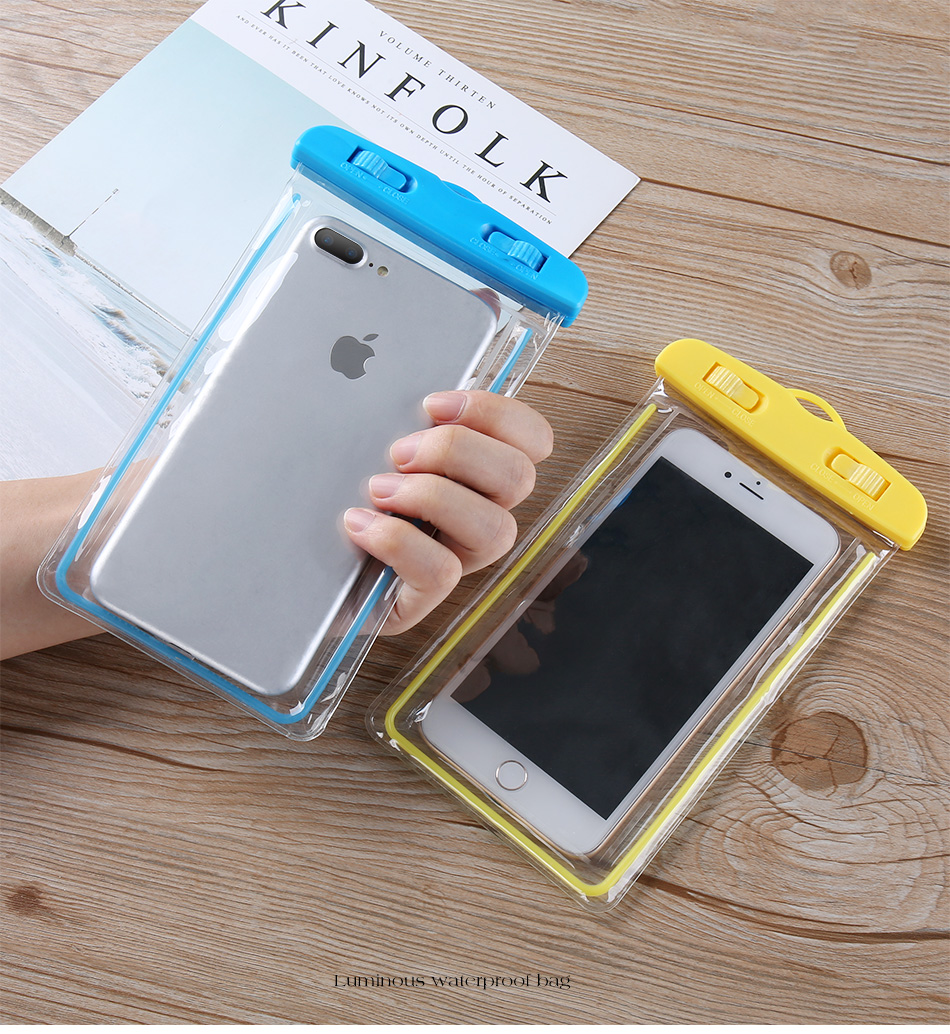 Kisscase Luminous Touch Screen Waterproof Phone Bag For 4.0-6.5 inch Smart Phone iPhone XS Max Samsung Galaxy S10+