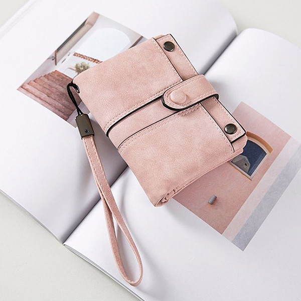 Women Frosted Purse Short Paragraph Cute Two Fold Multi-card