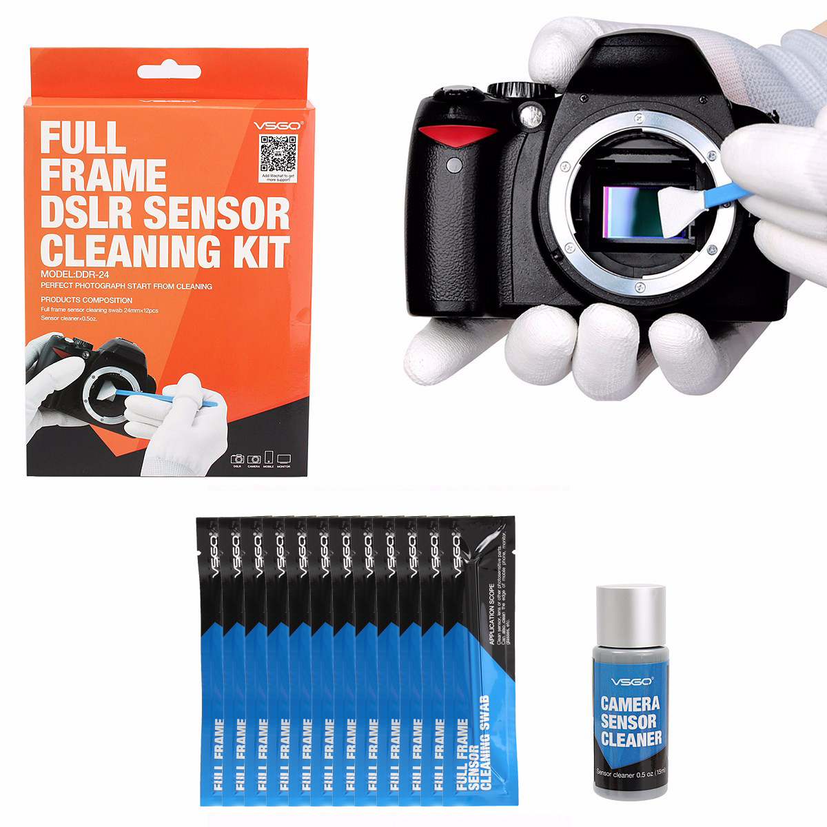 VSGO DDR-24 12PCS Professional Full Frame CCD CMOS Cleaning Swab Sensor Cleaner Kit for DSLR Cameras