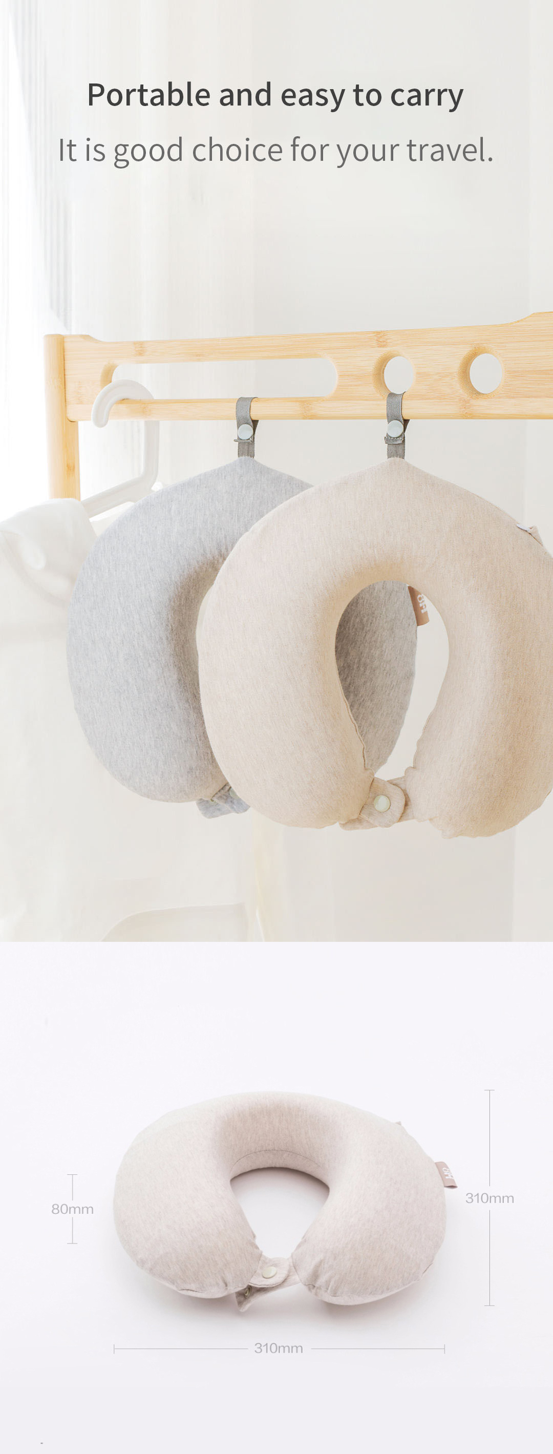 Xiaomi 8H Original 8H U Shaped Memory Foam Neck Protective Waist Pillow Antibacterial Portable Neck Pillow Cushion For Home Bedroom Car Rest