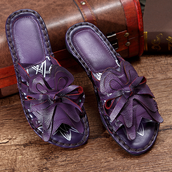 SOCOFY Flower Leather Casual Slippers