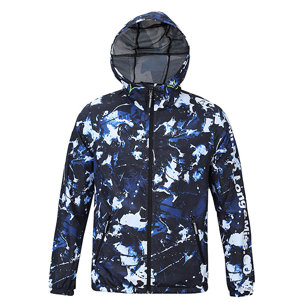Spring Autumn 3D Printing Water Repellent Windproof Outdoor Sport Hooded Jackets for Men