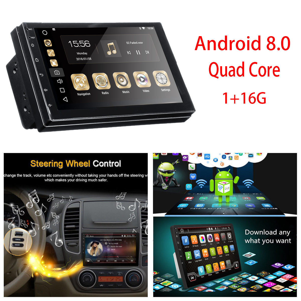 2 DIN Car Stereo 7 Inch Android 8 Quad Core Touch Radio WIFI Car MP5 Player