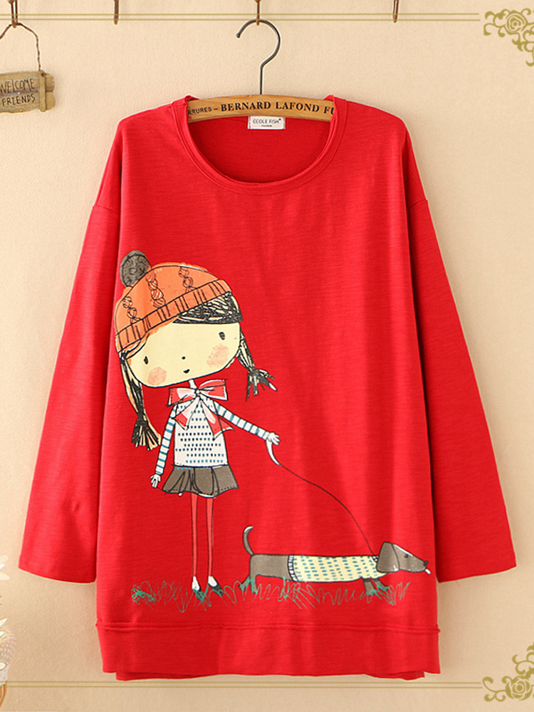 Women Casual O-Neck Cartoon Print Long Sleeve Sweatshirt