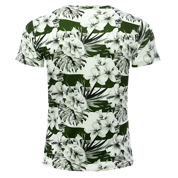 Summer Mens Fashion Flower Printed O-neck T-shirt