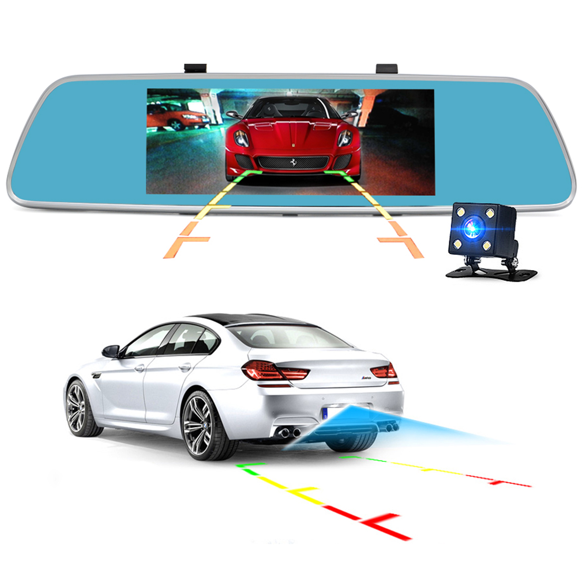 Junsun A760 3G 7 Inch Car DVR Mirror Video Camera Full HD 1080P Android 5.0 Dash cam 16GB Dual Lens