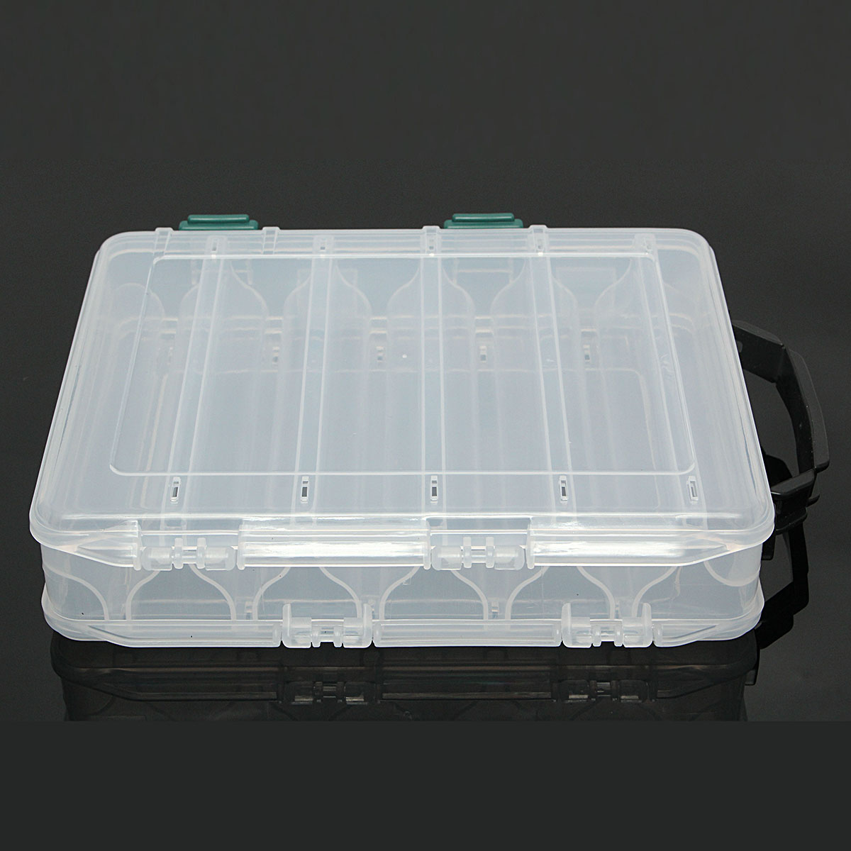 Plastic 12 Compartment Double Sided Fishing Lure Bait Tackle Hook Accessory Storge Box Case