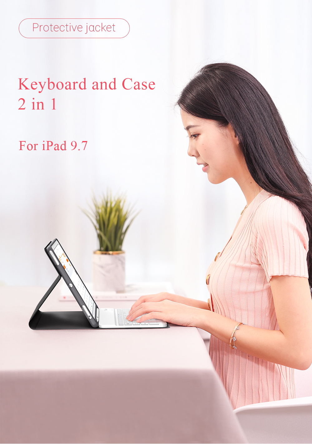 Auto Sleep Detachable bluetooth Wireless Keyboard Kickstand Tablet Case With Pencil Holder For iPad 9.7 Inch 2018/iPad 9.7 Inch 2017/iPad Air/iPad Air 2/iPad Pro 9.7 Inch