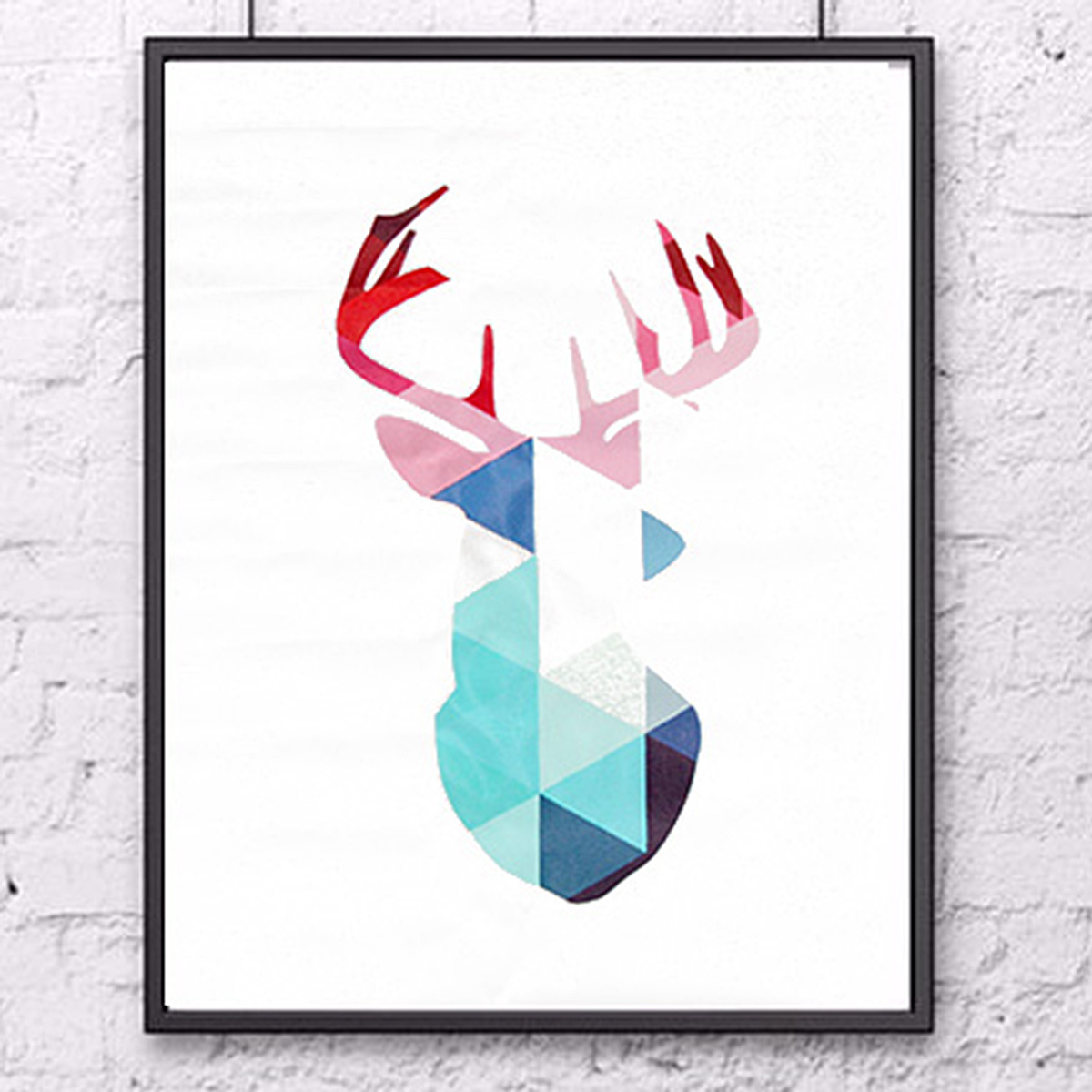 Geometric Coral Deer Frameless Canvas Prints Wall Art Picture Home Decoration