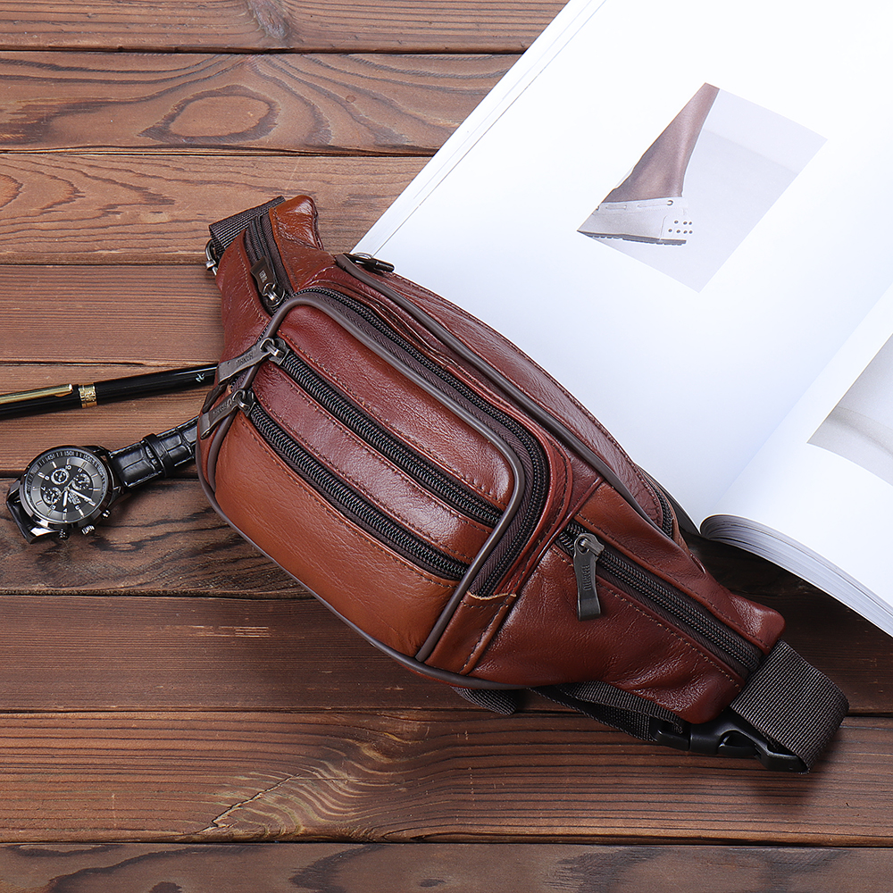 Men Genuine Leather Multi-function Large Capacity Waist Bag Chest Bag Crossbody Bag