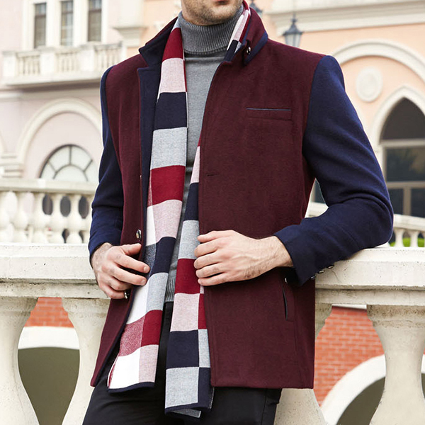 Mens Woolen Blend Business Casual Stitching Color Fashion Slim Fit Mid-long Suits