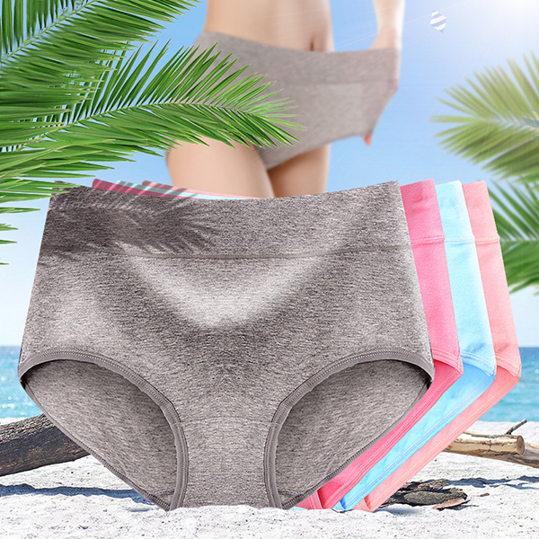 Comfy Soft Cotton Solid Color Mid Waist Hip Lifting Breathable Briefs Antibiosis Panties