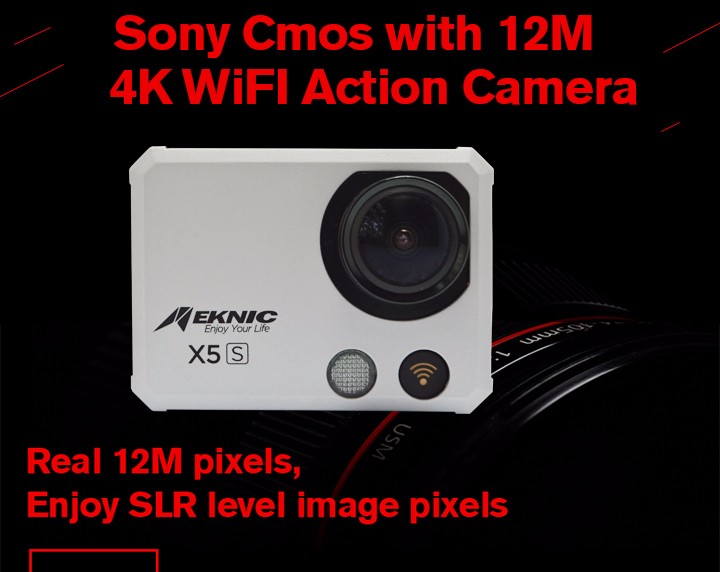 Meknic X5S Actioncamera 4K Wifi Sony 12MP CMOS Sensor 170 Degree Wide Angle with Accessories